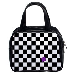 Dropout Purple Check Classic Handbags (2 Sides) by designworld65