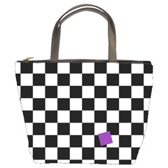 Dropout Purple Check Bucket Bags by designworld65