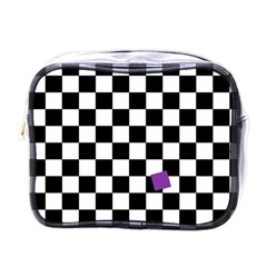 Dropout Purple Check Mini Toiletries Bags by designworld65