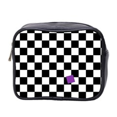 Dropout Purple Check Mini Toiletries Bag 2 Side by designworld65