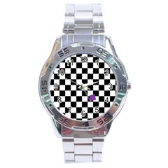 Dropout Purple Check Stainless Steel Analogue Watch by designworld65