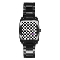 Dropout Purple Check Stainless Steel Barrel Watch by designworld65