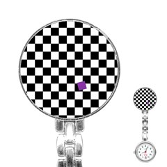 Dropout Purple Check Stainless Steel Nurses Watch by designworld65