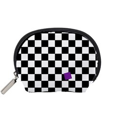Dropout Purple Check Accessory Pouches (small)  by designworld65