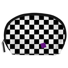 Dropout Purple Check Accessory Pouches (large)  by designworld65