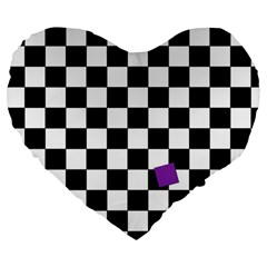 Dropout Purple Check Large 19  Premium Flano Heart Shape Cushions by designworld65