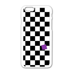 Dropout Purple Check Apple Iphone 6/6s White Enamel Case by designworld65