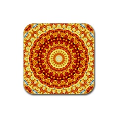 Powerful Love Mandala Rubber Coaster (square)  by designworld65