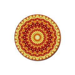 Powerful Love Mandala Rubber Round Coaster (4 Pack)  by designworld65