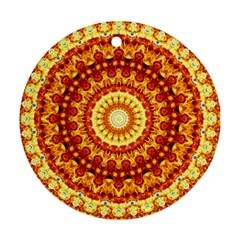 Powerful Love Mandala Round Ornament (two Sides) by designworld65