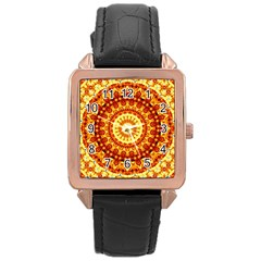 Powerful Love Mandala Rose Gold Leather Watch  by designworld65
