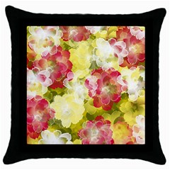 Flower Power Throw Pillow Case (black) by designworld65