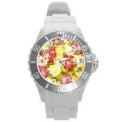 Flower Power Round Plastic Sport Watch (l) by designworld65
