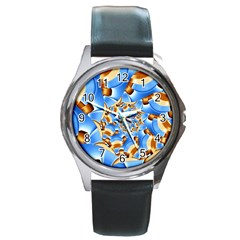 Gold Blue Bubbles Spiral Round Metal Watch by designworld65