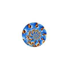 Gold Blue Bubbles Spiral 1  Mini Magnets by designworld65