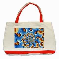 Gold Blue Bubbles Spiral Classic Tote Bag (red) by designworld65