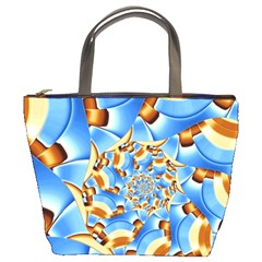 Gold Blue Bubbles Spiral Bucket Bags by designworld65