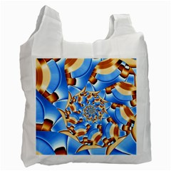 Gold Blue Bubbles Spiral Recycle Bag (one Side) by designworld65