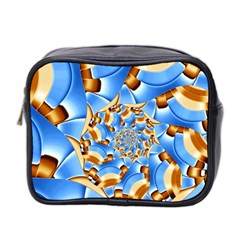 Gold Blue Bubbles Spiral Mini Toiletries Bag 2 Side by designworld65