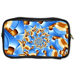 Gold Blue Bubbles Spiral Toiletries Bags 2 Side by designworld65