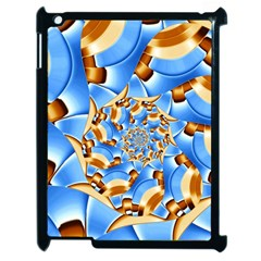 Gold Blue Bubbles Spiral Apple Ipad 2 Case (black) by designworld65