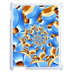 Gold Blue Bubbles Spiral Apple Ipad 2 Case (white) by designworld65