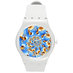 Gold Blue Bubbles Spiral Round Plastic Sport Watch (m) by designworld65