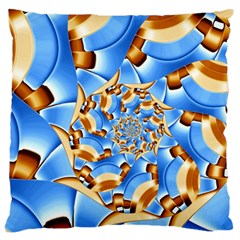 Gold Blue Bubbles Spiral Large Cushion Case (one Side) by designworld65