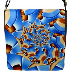 Gold Blue Bubbles Spiral Flap Messenger Bag (s)