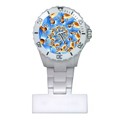 Gold Blue Bubbles Spiral Plastic Nurses Watch by designworld65