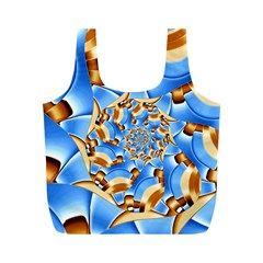 Gold Blue Bubbles Spiral Full Print Recycle Bags (m)  by designworld65