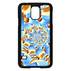 Gold Blue Bubbles Spiral Samsung Galaxy S5 Case (black) by designworld65