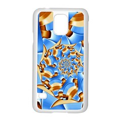 Gold Blue Bubbles Spiral Samsung Galaxy S5 Case (white) by designworld65