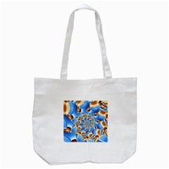 Gold Blue Bubbles Spiral Tote Bag (white) by designworld65