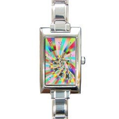 Irritation Funny Crazy Stripes Spiral Rectangle Italian Charm Watch by designworld65