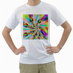 Irritation Funny Crazy Stripes Spiral Men s T Shirt (white) (two Sided) by designworld65