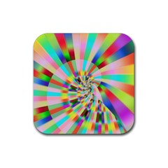 Irritation Funny Crazy Stripes Spiral Rubber Square Coaster (4 Pack)  by designworld65