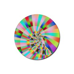 Irritation Funny Crazy Stripes Spiral Rubber Coaster (round)  by designworld65