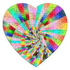 Irritation Funny Crazy Stripes Spiral Jigsaw Puzzle (heart) by designworld65