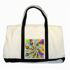 Irritation Funny Crazy Stripes Spiral Two Tone Tote Bag by designworld65