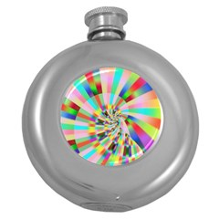 Irritation Funny Crazy Stripes Spiral Round Hip Flask (5 Oz) by designworld65