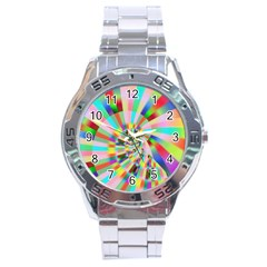 Irritation Funny Crazy Stripes Spiral Stainless Steel Analogue Watch by designworld65