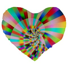 Irritation Funny Crazy Stripes Spiral Large 19  Premium Heart Shape Cushions by designworld65