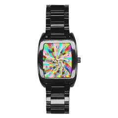 Irritation Funny Crazy Stripes Spiral Stainless Steel Barrel Watch by designworld65