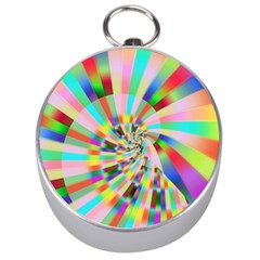 Irritation Funny Crazy Stripes Spiral Silver Compasses by designworld65