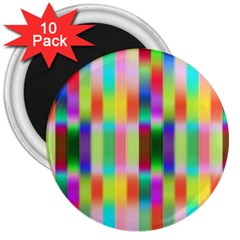 Multicolored Irritation Stripes 3  Magnets (10 Pack)  by designworld65