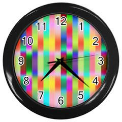 Multicolored Irritation Stripes Wall Clocks (black) by designworld65