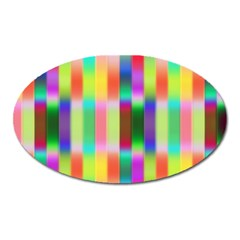 Multicolored Irritation Stripes Oval Magnet by designworld65