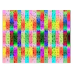 Multicolored Irritation Stripes Rectangular Jigsaw Puzzl by designworld65