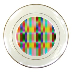 Multicolored Irritation Stripes Porcelain Plates by designworld65